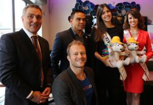 Con Anthonny Perruzza -concejal; Fulvio Martínez -comunicaciones de los Pan Am 2015 y el atleta paralímpico Josh