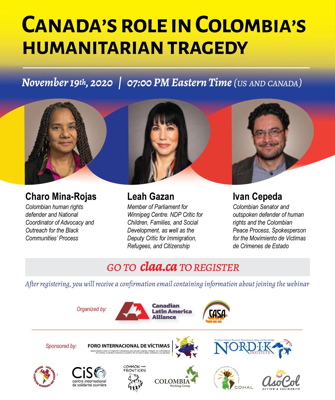 Invitan a discusión en torno a rol de Canadá en situación en Colombia