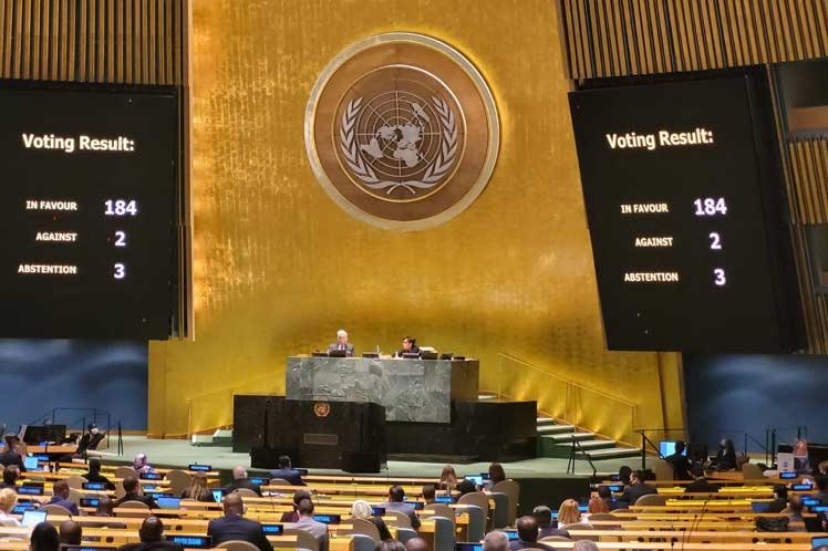 Asamblea General de la ONU rechaza bloqueo de EEUU contra Cuba